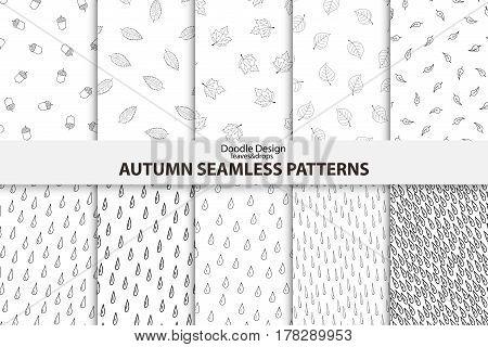Autumn seamless patterns. Hand drawn vector design.