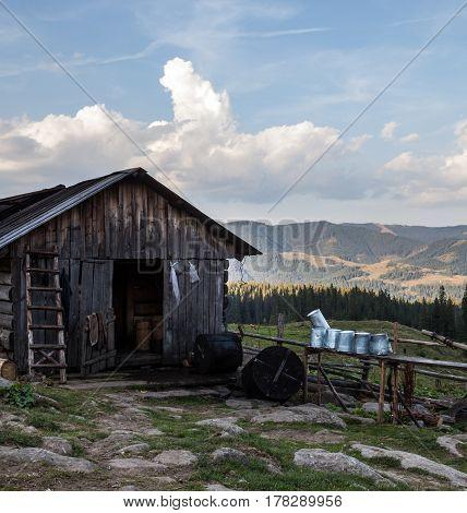 Wooden shepherds' shed in the Ukrainian Carpathians.
