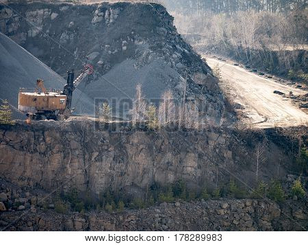 Stone quarry and mining equipment. opencast mining quarry.
