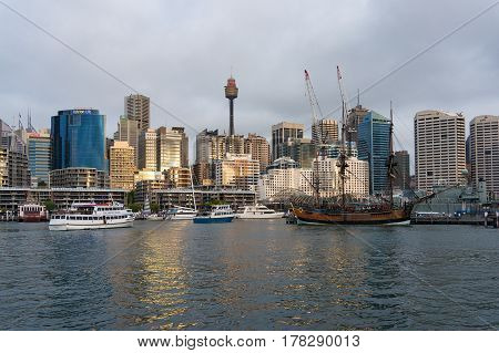 Cockle Bay Wharf With Sydney Skyline On The Background
