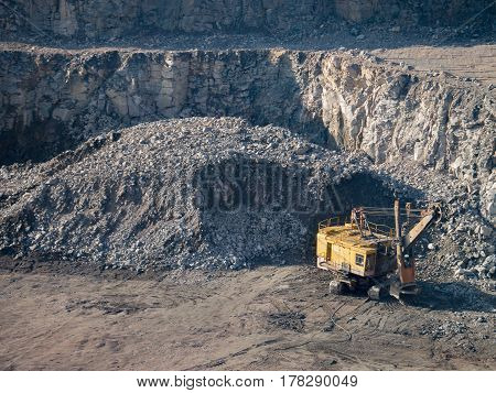 opencast mining quarry. Stone quarry and mining equipment