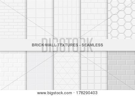 Collection of seamless brick wall textures. White and gray tile textures.