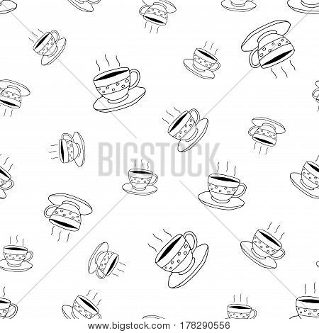 Coffee seamless pattern in doodle style.Vector illustration.