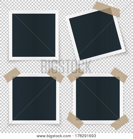 Set of 4 different image frames, with shadow, stickers, tape pieces, rotated and sticked. Vector quality illustration template for image and pictures.