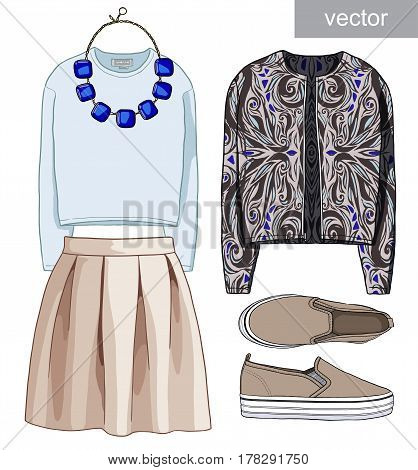 Lady fashion set of autumn, winter season outfit. Illustration stylish and trendy clothing. Bomber jacket, skirt, bag, necklace, accessories, sunglasses, slip on shoes shoes. Vector.