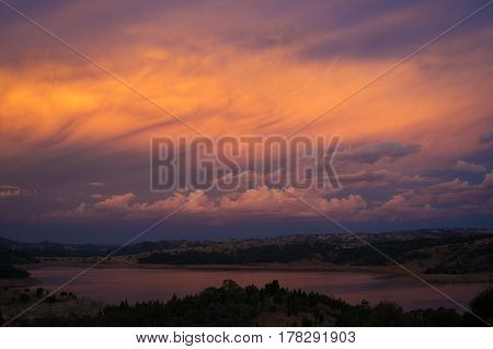 Breathtaking Sunset Sky And Landscape With River