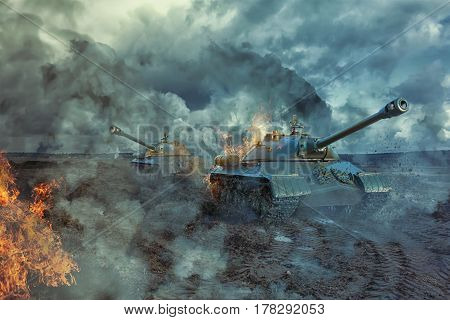 Two tanks on the battlefield at a hot spot