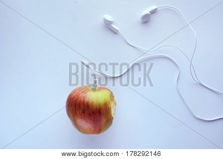 Apple In Which Headphones Are Connected, Music Concept