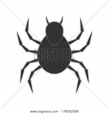 spider with shadow. abstract insect icon. white background. vector illustration.