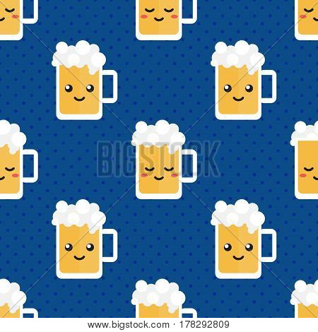 Cute flat design glass of beer character seamless pattern background.
