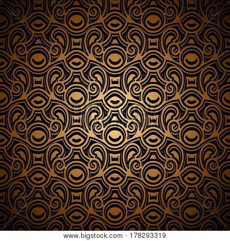 Vintage golden background with swirly pattern, filigree lattice ornament