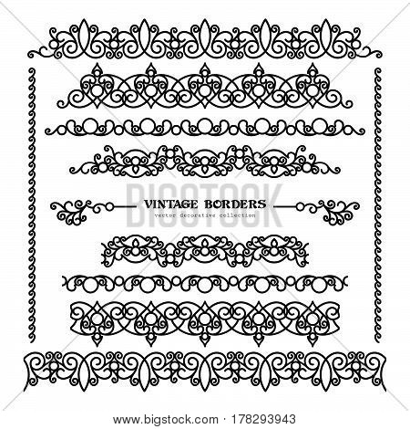 Set of vintage borders and flourishes, scroll embellishment in retro style