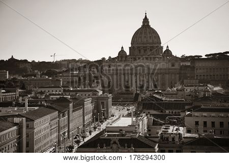 St Peters Basilica in Vatican City black and white