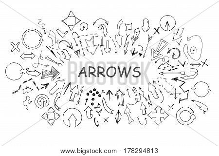 Arrows collection in doodle style. Hand drawn vector illustration.