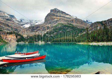 Lake O'hara, Yohu National Park with canoe, Canada.