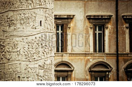 Rome Forum with ruins of historical buildings closeup view with sculpture and windows. Italy.