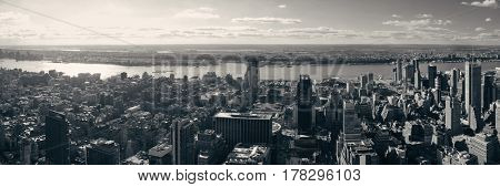 New York City west side urban cityscape panorama view.