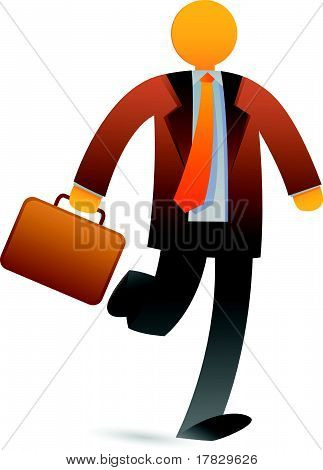 Paper Businessman Holding Briefcase