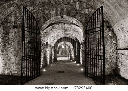 Tunnel and barricade in Lucca Italy