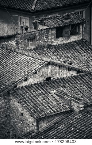 Lucca roof viewed from above in Italy.
