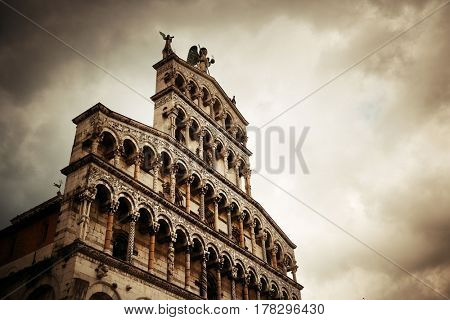 The Church of San Pietro Somaldi and Campanile facade closeup in Lucca Italy