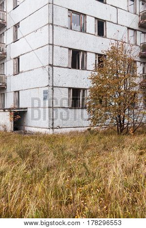 Pripyat. Ghost town in Chernobyl Exclusion Zone. Abandoned house.