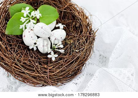 Easter bird nest with small white speckled eggs