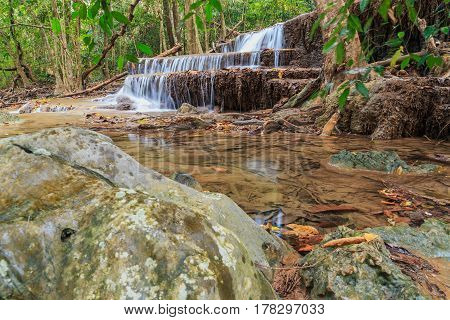 Waterfalls Huay Mae Kamin in dry season nature forest