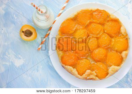 Apricot tarte tatin , summer pie with fruit