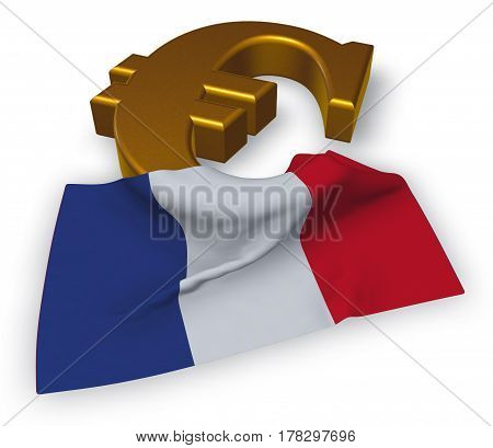 euro symbol and french flag - 3d illustration