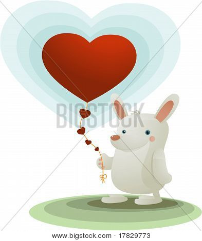 Rabbit With Heart Ballon