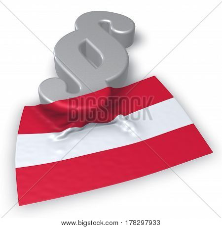 paragraph symbol and austrian flag - 3d rendering