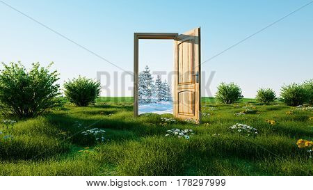 opened door. A portal winter to summer, Change of seasons concept. Transition. 3d rendering