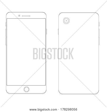Smartphone Outline Template Mobile phone drawing for design
