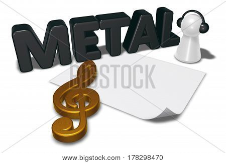 metal tag blank white paper sheet and pawn with headphones - 3d rendering