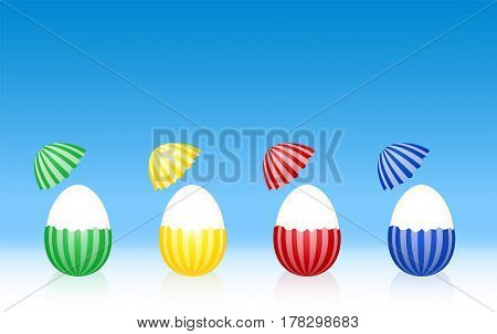 Easter eggs - hard boiled egg white - cracked half peeled shell - striped pattern - four different colors. Three-dimensional vector illustration on gradient blue background.
