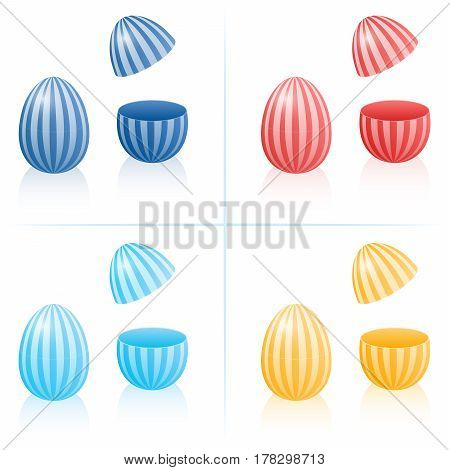 Easter egg fillable boxes with stripes, closed and opened to be filled - in four different colors. Three-dimensional isolated vector illustration on white background.