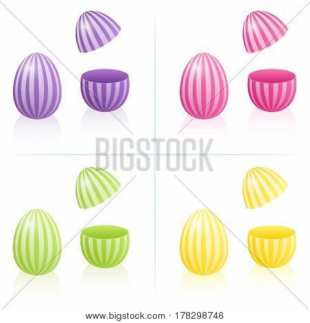 Easter egg boxes with striped pattern, closed and opened to be filled - in four bright spring colors purple, pink, green and yellow. Three-dimensional isolated vector illustration on white background.