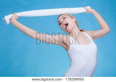 Woman With A Towel Above Her Head