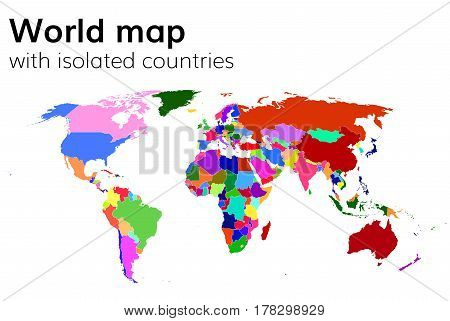 Political world map with isolated countries and continents . Multi colored map