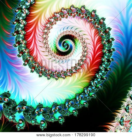 Multicolored Background with Spiral Pattern. Artwork for creative design art and entertainment.