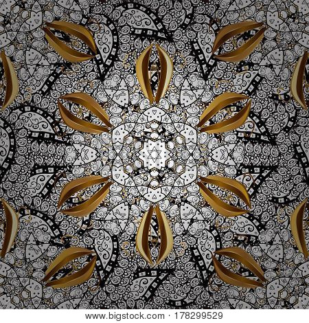 Seamless oriental ornament in the style of baroque. Traditional classic golden vector pattern on brown background with golden elements.