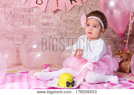 Baby celebrating her First Birthday high quality and high resolution studio shoot