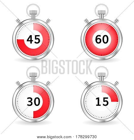 Realistic stopwatch with red dial and seconds bar . Set of timers with
