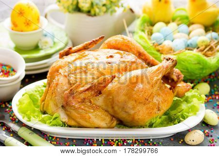 Delicious whole roast chicken for easter dinner