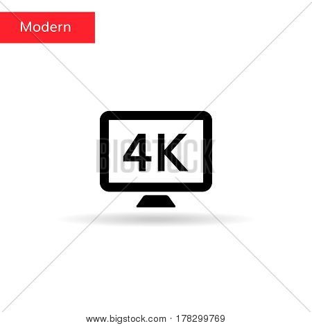 4k tv icon . 4k sign on monitor screen