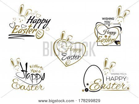 Happy Easter. Set greeting inscription with the Easter bunny and Easter eggs. Easter art, hand lettering, text. Vector illustration
