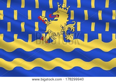 Flag of Doubs - department in eastern France department of the region of Franche-Comte. 3d illustration