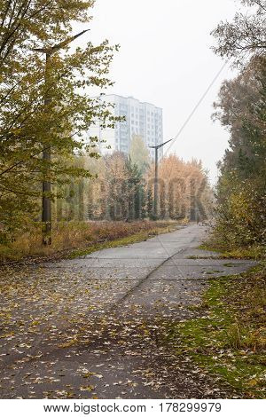Pripyat. Ghost town in Chernobyl Exclusion Zone. Abandoned park and house.