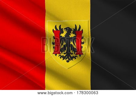 Flag of Besancon is the capital of the department of Doubs and of the Franche-Comte region in eastern France. 3d illustration